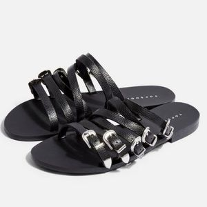 TOPSHOP Heston Leather Buckle Sandal New